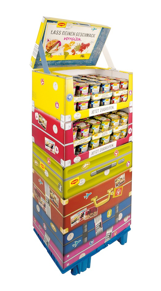 "Travelling the world at the point of sale: The secondary placement for the launch of the new Maggi ""Food Travel"" Instant Cups comes from DS Smith's hotbed of innovation. The display in suitcase look scores with attention-grabbing design and uncomplicated handling."