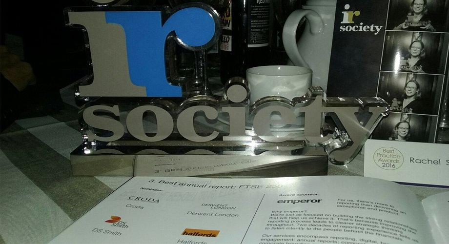Best Annual Report (FTSE 250) prize from the IR Society